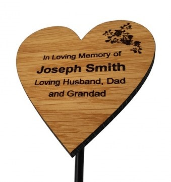 Engraved Oak Heart Memorial Plaque with Rose