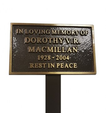 Cast Bronze Memorial Plaque, 130mm x 75mm, 340mm Stake