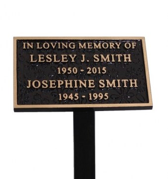 Cast Bronze Flower Memorial Plaque, 130mm x 75mm, 340mm Stake
