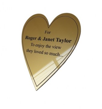 Gold Plastic Heart Commemorative Plaque