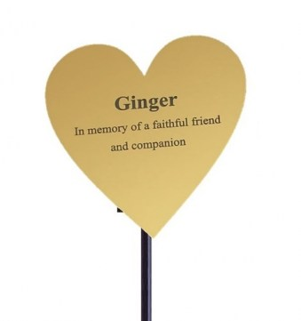 Gold Plastic Heart Memorial Plaque