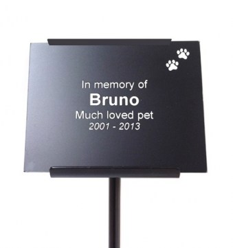 Black Plastic Memorial Plaque with Paw Decoration