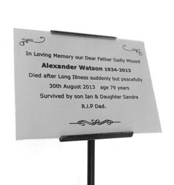 Silver Anodised Aluminium Memorial Plaque