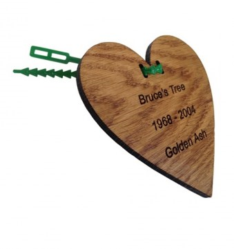 Engraved Oak Hanging Heart Label